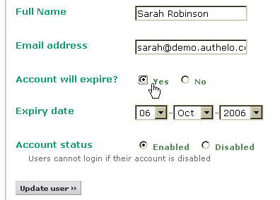 Automatic expiration of user accounts